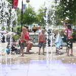Dipping your toes into fountain at Broadway at the Beach feels great on a hot day!