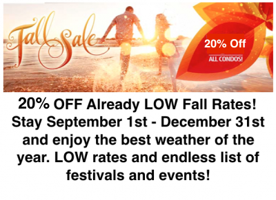 FALL 20% OFF ALL NORTH MYRTLE BEACH CONDOS