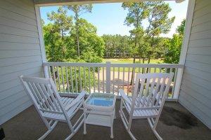 Peaceful balcony overlook golf green