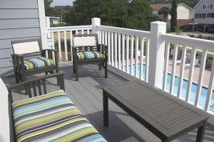 Balcony overlooks the pool